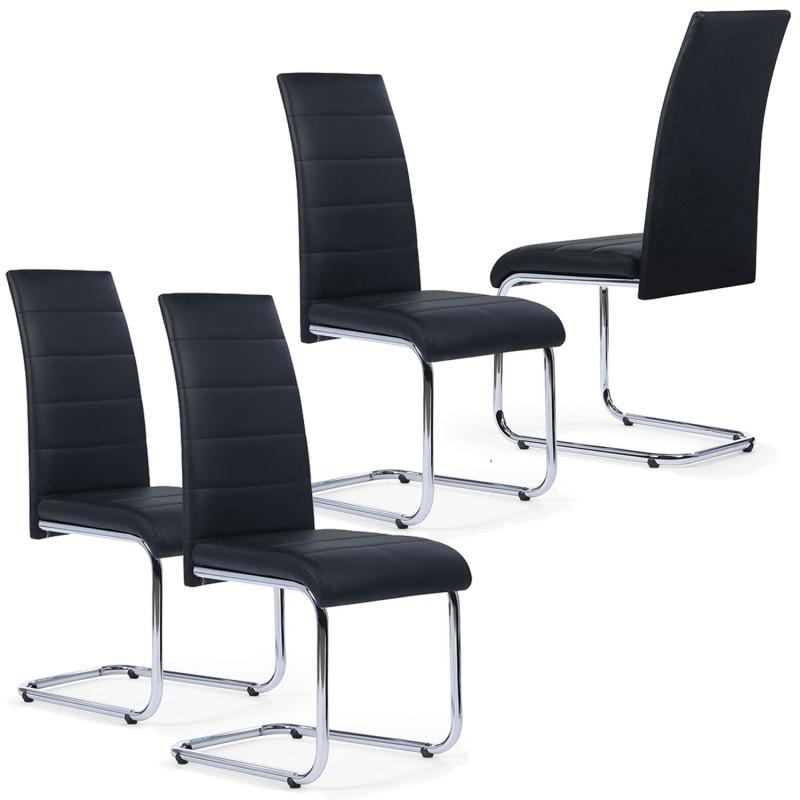 Lot de 4 chaises noires pas cher pour salle à manger MIA