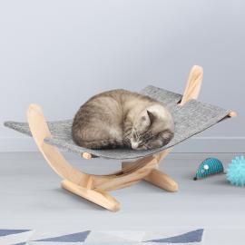 Hamac en bois pour chat coloris gris