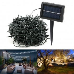 Guirlande solaire 1000 led blanches décoratives