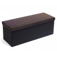 Banc coffre rangement 100 cm en tissu noir et motifs géométriques dorés