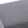 Banc coffre rangement 100 cm en tissu gris et motifs géométriques blancs