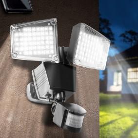 Projecteur solaire 2 têtes 100 led détecteur de mouvement