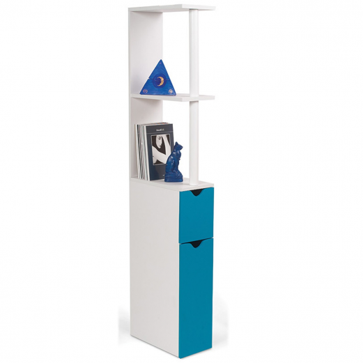 Meuble WC étagère bois gain de place pour toilette porte bleue