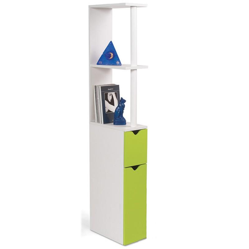 Meuble wc tag re bois gain de place pour toilette 2 portes vertes - Meuble tv gain de place ...