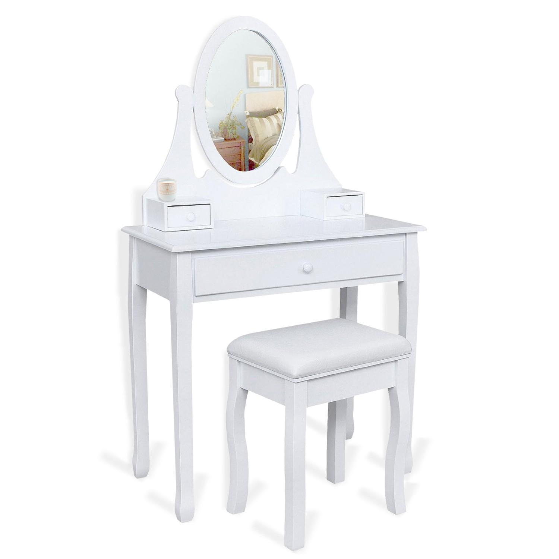 Table De Chevet Miroir Pas Cher coiffeuse table de maquillage en bois blanc avec miroir et tabouret