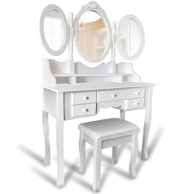 Coiffeuse 3 Miroirs : coiffeuse 3 miroirs en bois et tabouret ebay ~ Teatrodelosmanantiales.com Idées de Décoration