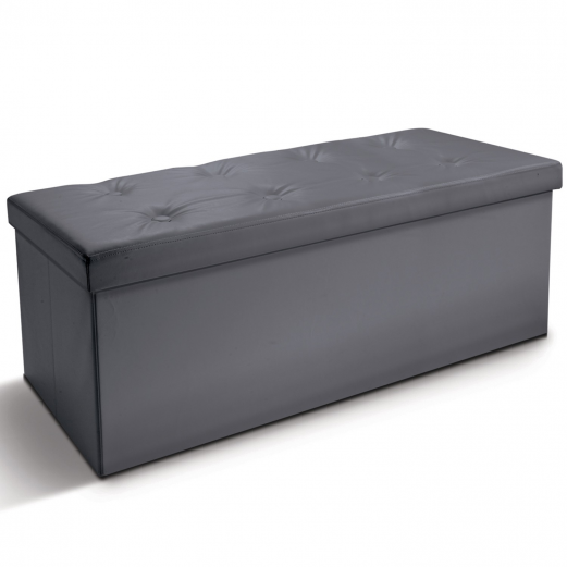 Banc coffre rangement pliable gris GM 100x38x38 cm