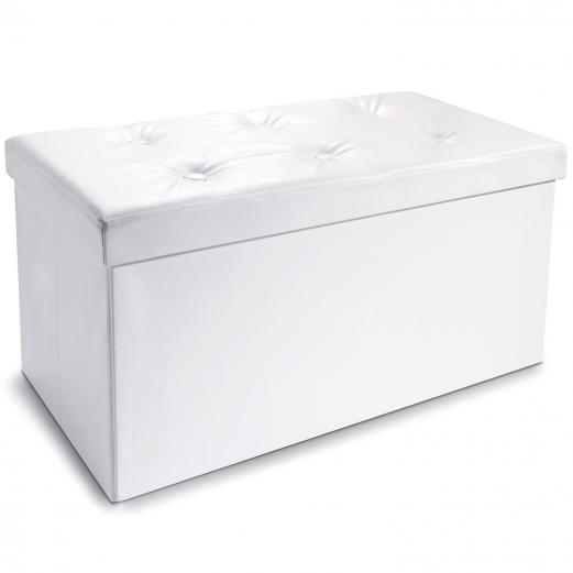 Banc Coffre Rangement Pvc Blanc 100x38x38 Cm Pliable Accessoires M