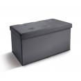 Banc coffre rangement pliable gris PM 76x38x38 cm