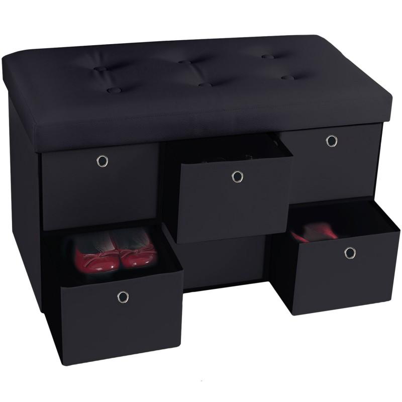 banc coffre rangement noir 6 tiroirs 76x38x38cm pvc accessoires ma. Black Bedroom Furniture Sets. Home Design Ideas