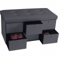 Banc coffre rangement gris 6 tiroirs 76x38x38cm PVC