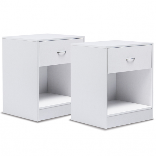 Set x2 tables de chevet blanches tables de nuit en bois