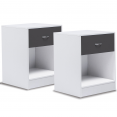 TABLE DE CHEVET BLANCHE TIROIR GRIS X2