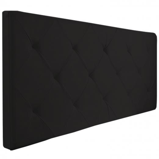 Tête de lit capitonnée simili cuir noir 160x60cm imprimé 14 boutons