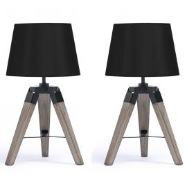 Lot de 2 lampes de chevet trépied en bois noires