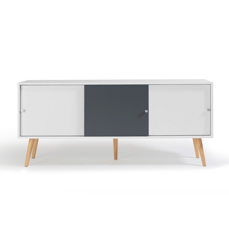buffet effie scandinave bois blanc et gris. Black Bedroom Furniture Sets. Home Design Ideas