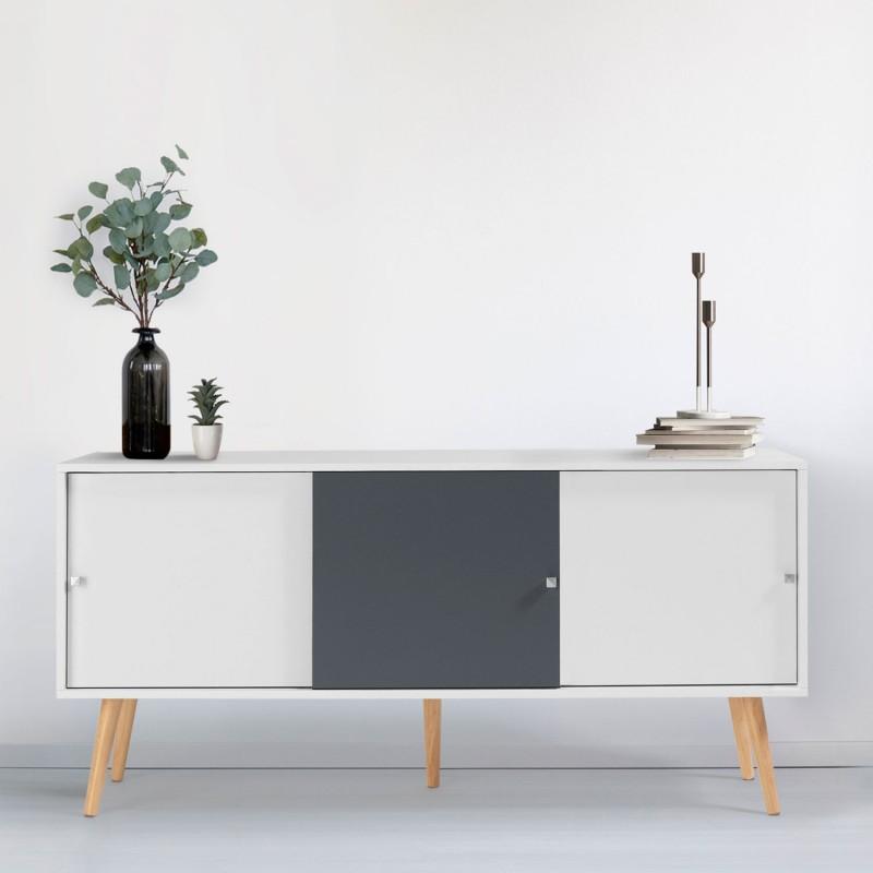 buffet effie scandinave bois blanc et gris. Black Bedroom Furniture Sets. Home Design Ideas