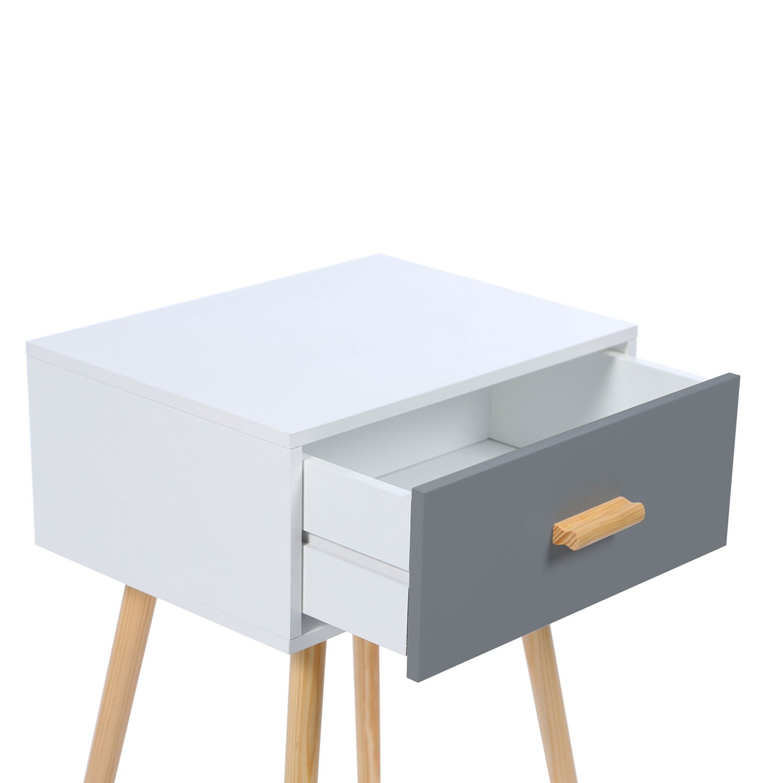 lot de 2 tables de chevet blanches et grises scandinaves en bois i
