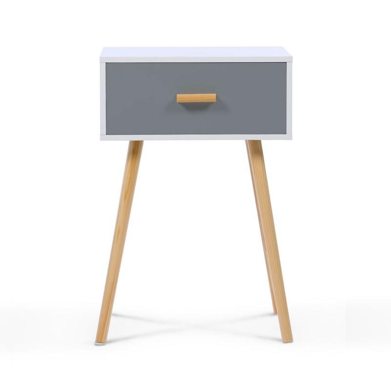 Tables de chevet scandinaves en bois blanches et grises Table grise et blanche