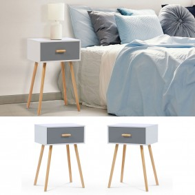 Lot de 2 tables de chevet blanches et grises scandinaves en bois