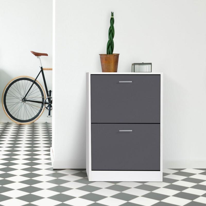 meuble chaussures blanc 2 portes grises. Black Bedroom Furniture Sets. Home Design Ideas