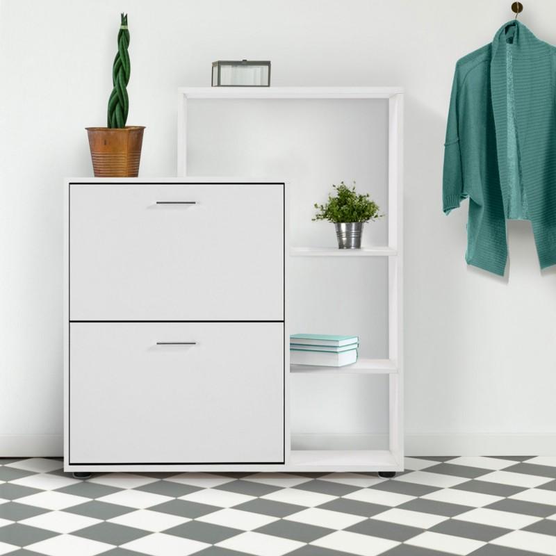 meuble chaussures 2 portes avec tag re blanc. Black Bedroom Furniture Sets. Home Design Ideas