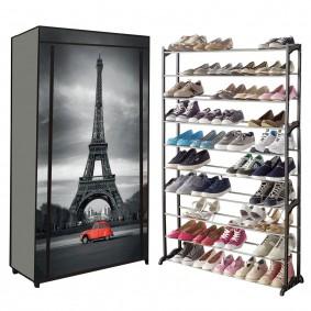 Étagère range chaussures 50 paires housse imprimé Paris