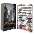 Étagère range chaussures 50 paires housse imprimé New-York