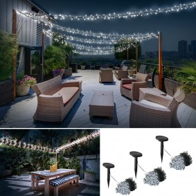 lot de 3 guirlandes 50 LED solaires blanches décoratives