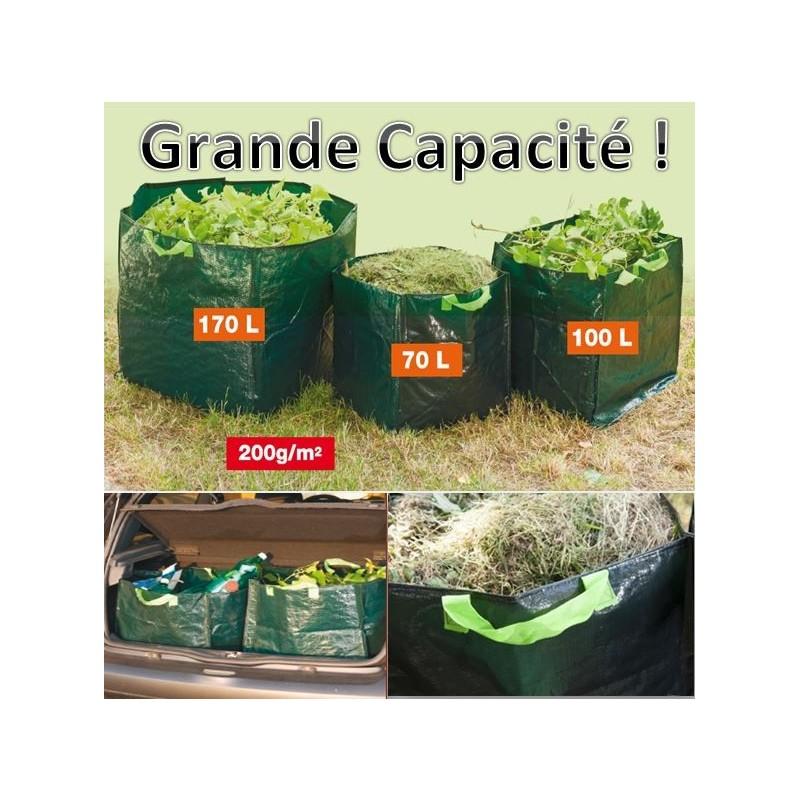 Set de 3 sacs de jardin carr s grande capacit avec poign es ebay - Coffre de jardin grande capacite ...