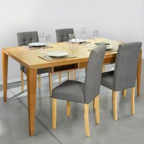 Lot de 4 chaises scandinaves capitonnées grises pour salle à manger