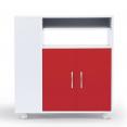 Desserte de cuisine sur roulettes blanche portes rouges L 76 cm