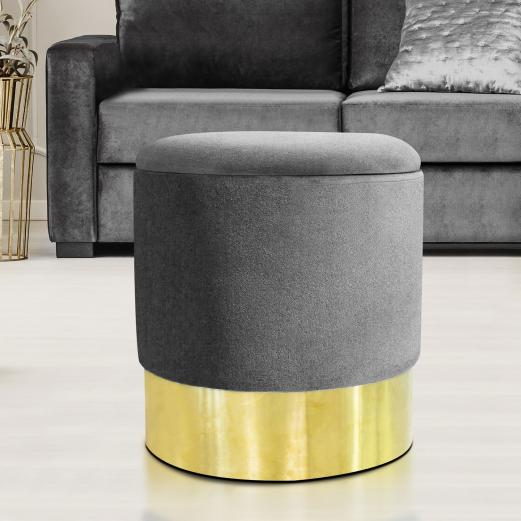 POUF VELOURS GRIS-OR