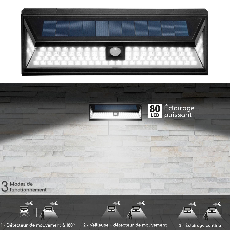 Avec Idmarket Sensor Applique Led Murale 80 Solaire 180° hsdtQrCx