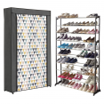 Étagère range chaussures 50 paires housse imprimés géométriques grise blanche et colorée