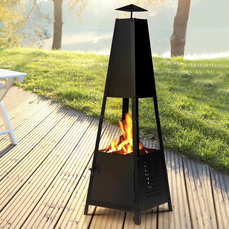 brasero de jardin memphis en acier noir. Black Bedroom Furniture Sets. Home Design Ideas