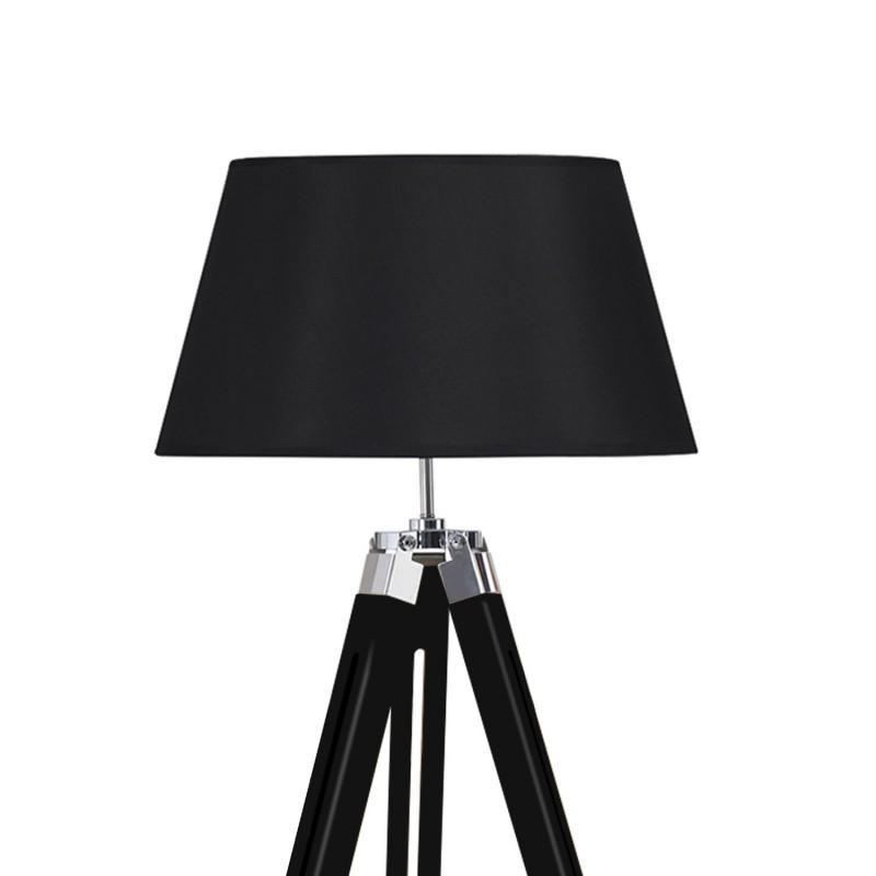 lampadaire tr pied bois r glable noir. Black Bedroom Furniture Sets. Home Design Ideas