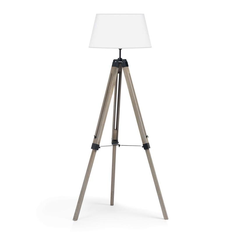 lampadaire tr pied bois fonc r glable blanc. Black Bedroom Furniture Sets. Home Design Ideas