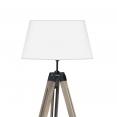 Lampadaire trépied bois foncé réglable blanc