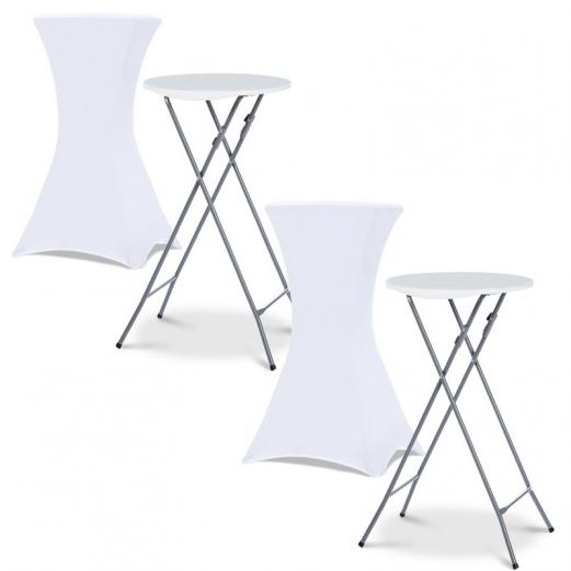 Lot de 2 tables hautes 105 cm pliantes + 2 housses blanches