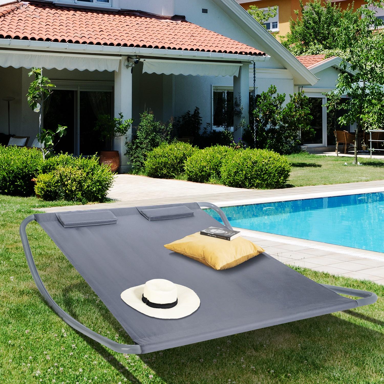 lit bain de soleil 180cm toile grise idmarket