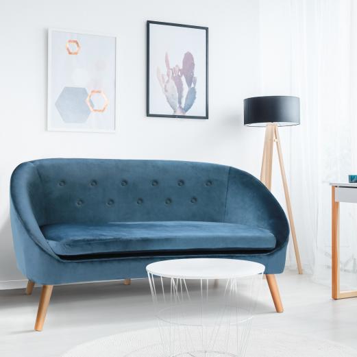 Canapé banquette en velours bleu SONIA