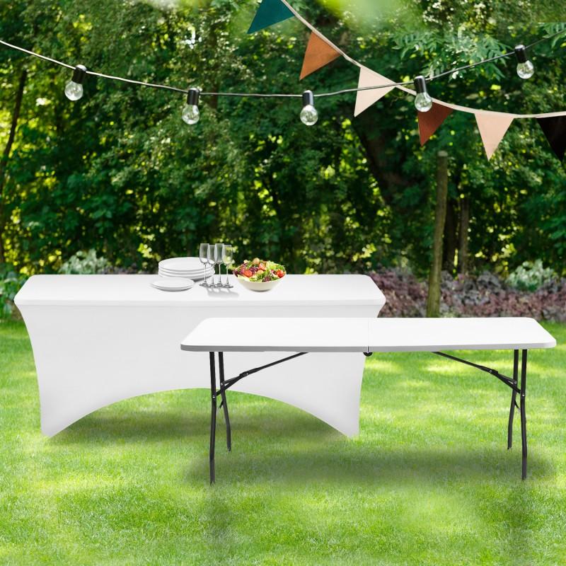housse blanche pour table pliante 180 cm. Black Bedroom Furniture Sets. Home Design Ideas