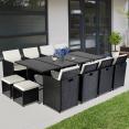 Salon de jardin encastrable MERIDA 12 places résine noire coussins blancs