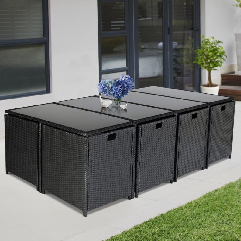 salon de jardin encastrable merida noir 12 places r sine tress e. Black Bedroom Furniture Sets. Home Design Ideas