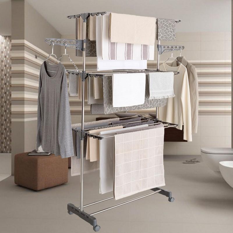 s choir linge inox maxima gris tendoir pliable cm. Black Bedroom Furniture Sets. Home Design Ideas