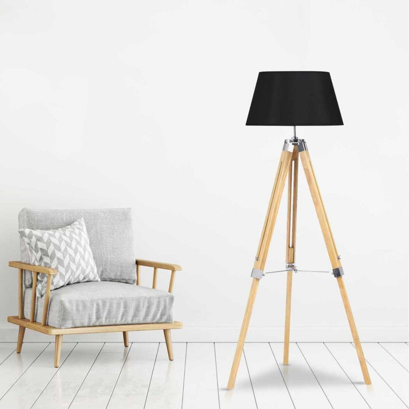 lampadaire tr pied bois clair r glable noir. Black Bedroom Furniture Sets. Home Design Ideas