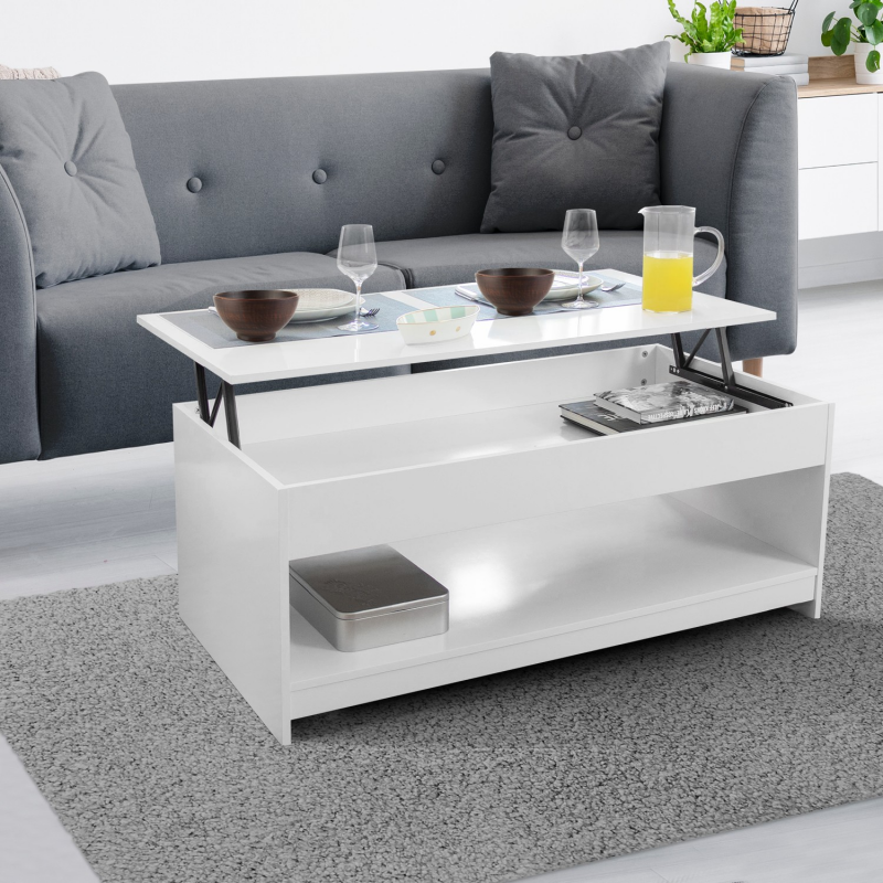 Table basse plateau relevable soa bois blanche Table basse blanche plateau relevable