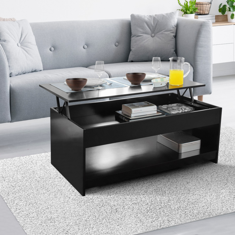 table basse plateau relevable soa bois noire. Black Bedroom Furniture Sets. Home Design Ideas