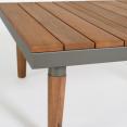 Salon de jardin HAWAÏ gris foncé 5 places acier et bois